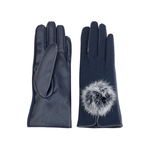Fur Poof Gloves in Navy Blue