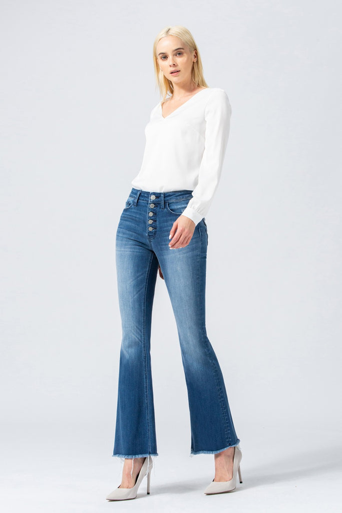 High Rise Button Up Flare Jeans