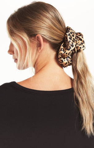 Oversized Leopard Scrunchie, Tan