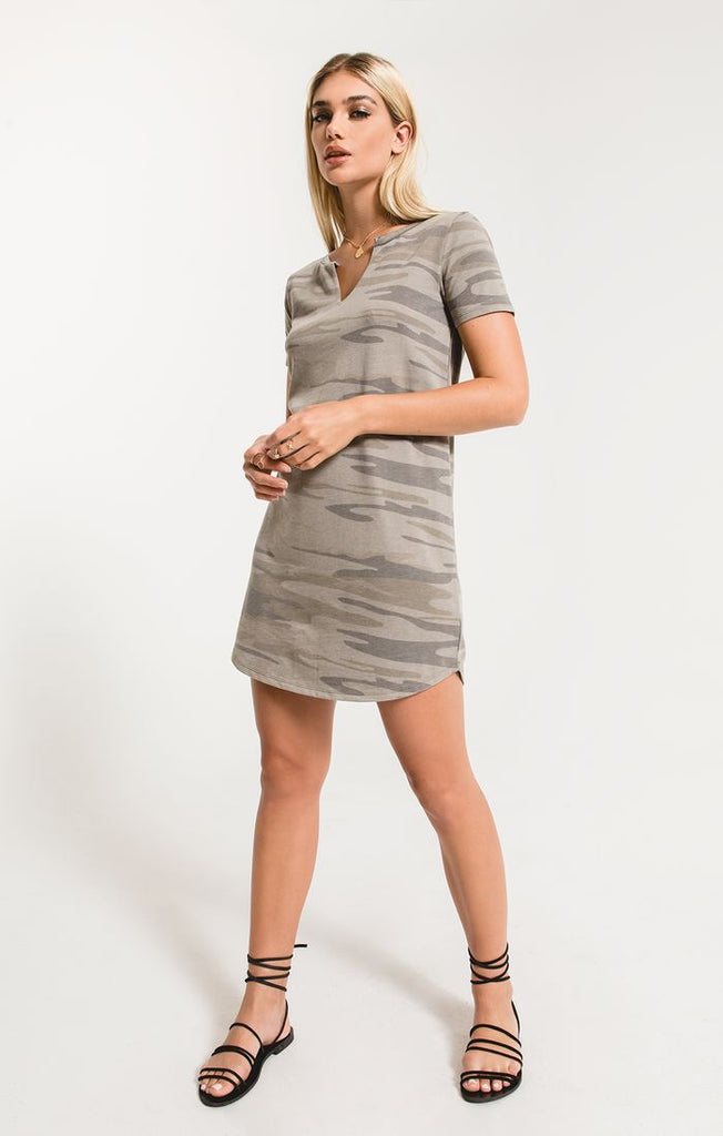 Marin Camo Split Neck Dress