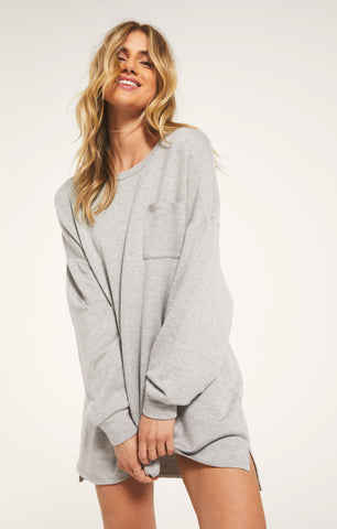 Harper Fleece Dress, Heather Grey