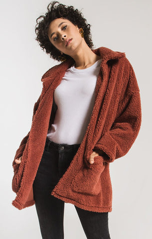 Melia Sherpa Teddy Bear Coat, Mesa Red
