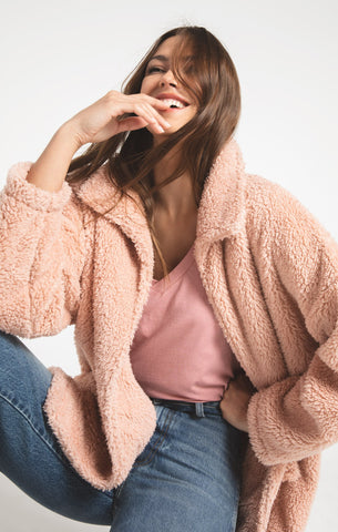 Melia Sherpa Teddy Bear Coat, Misty Rose