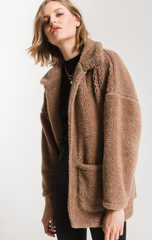Melia Sherpa Teddy Bear Coat, Toffee