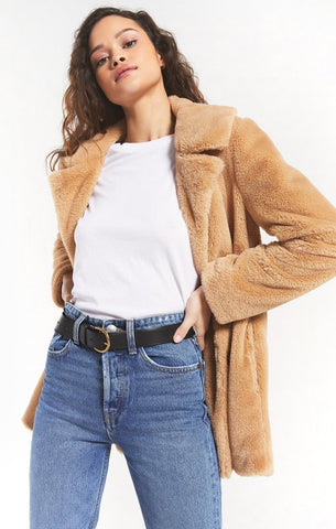 Carmen Faux Fur Coat, Camel