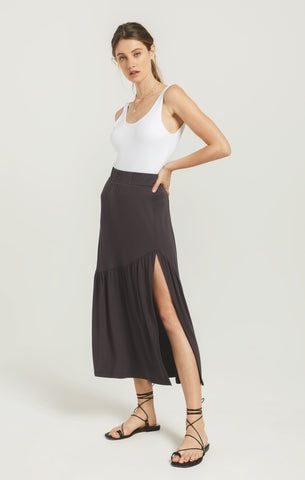 Calissa Midi Skirt, Washed Black