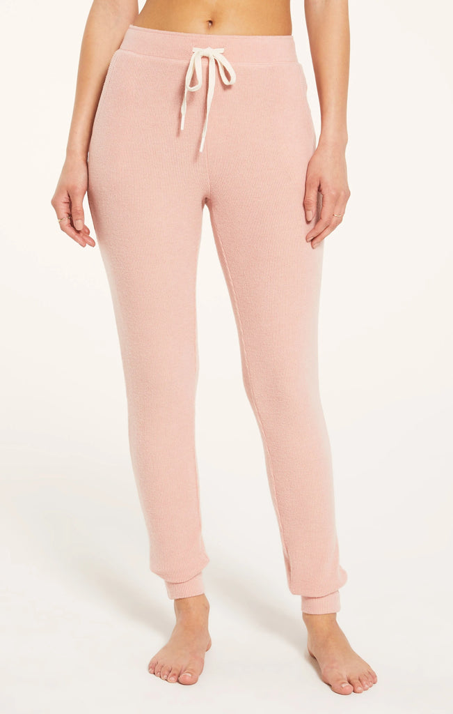 Homey Rib Joggers In Rosy Pink