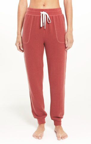 Comfy Brushed Jogger, Rosy Red