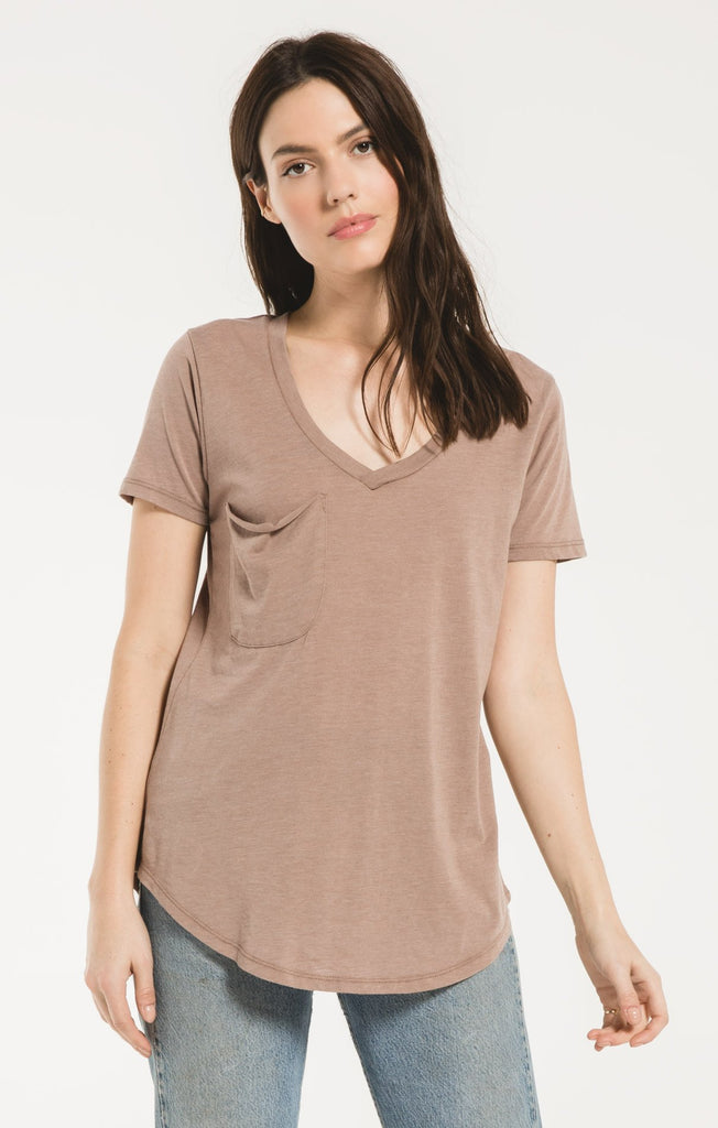 The Pocket Tee In Taupe Grey