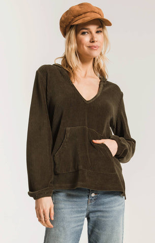 Natalia Knit Corduroy Pullover, Forest Night