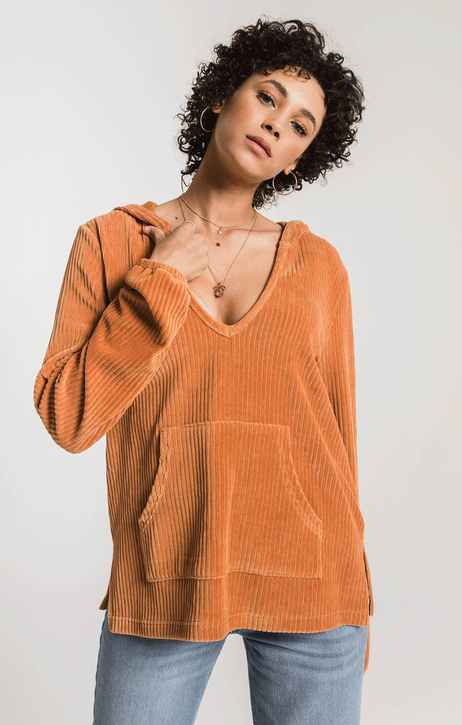 Natalia Knit Corduroy Pullover, Warm Wood