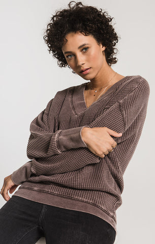 Emilia Waffle Knit V-Neck, Reddened Brown