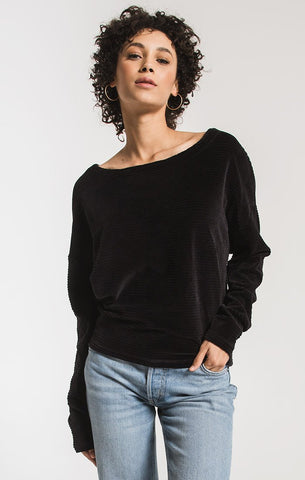 Luna Knit Corduroy Boat Neck Top, Black