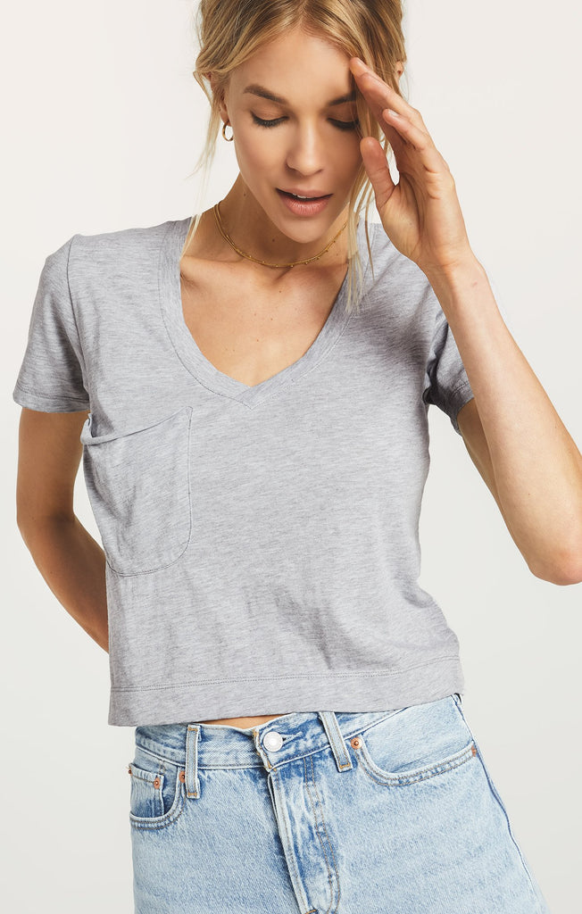 Classic Skimmer Crop Tee, Heather Grey