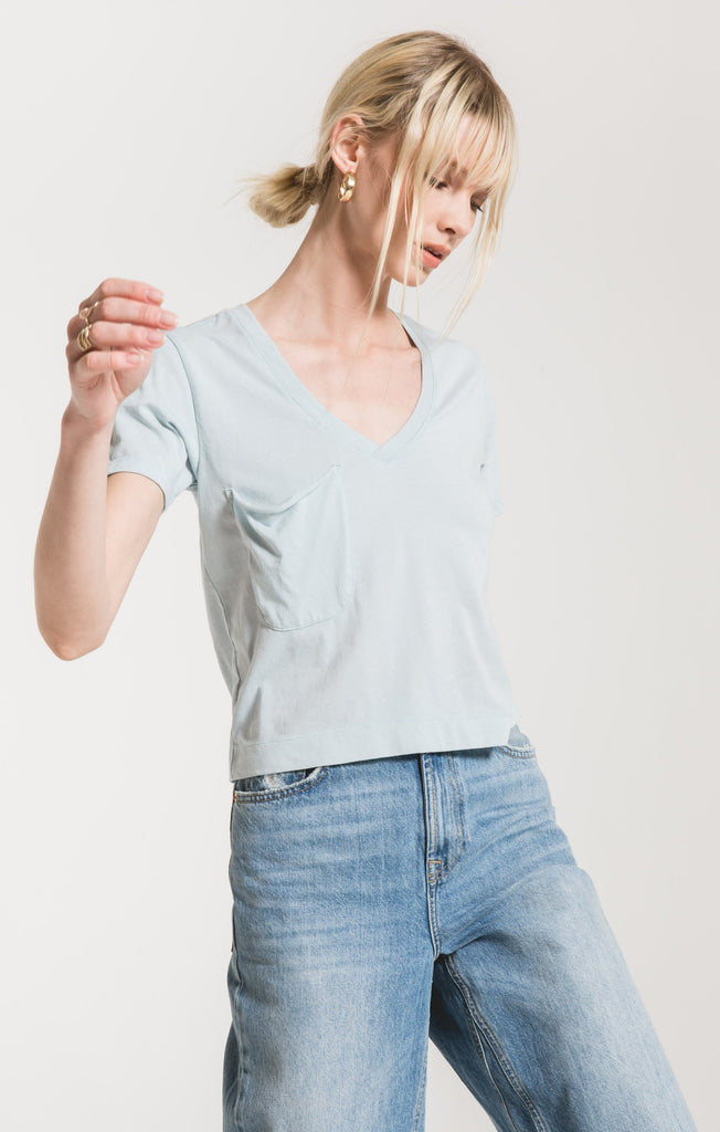 The Classic Skimmer Crop Tee, Sandwashed Blue