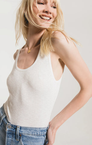 Textured Rib Fitted Tank, Desert White