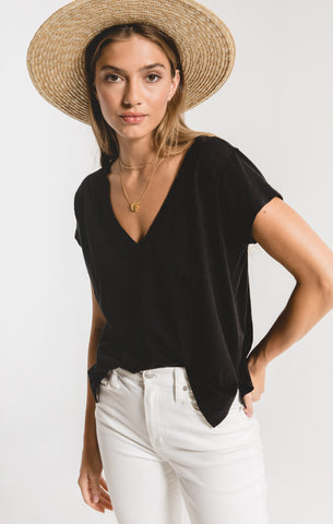 Zara Cotton Slub Easy V-Neck Tee In Black