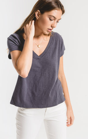Zara Cotton Slub Easy V-Neck Tee In Ombre Blue