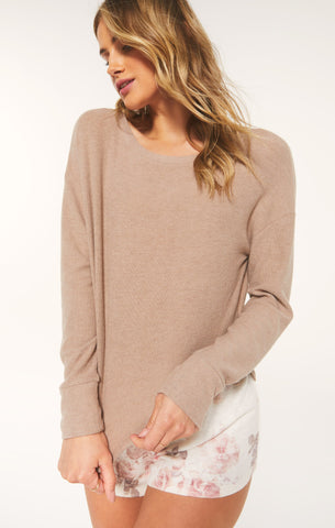 Leila Rib Long Sleeve Top, Cocoa