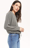 Dollie Slub Sweater Top, Ash Green