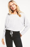 Dollie Slub Sweater Top, Heather Grey