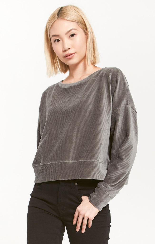 Astrid Cord Pullover, Ash Green