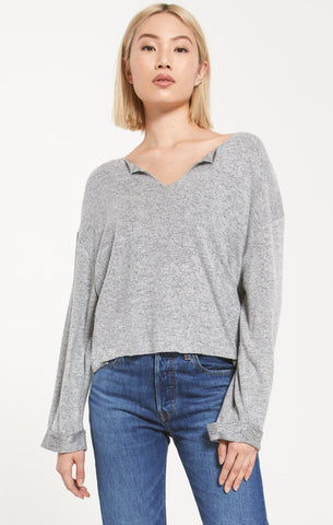 Alpine Marled Sweater, Heather Grey