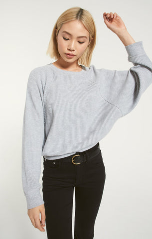 Claire Waffle Top, Heather Grey