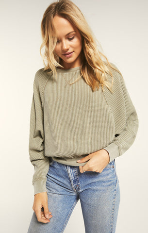 Claire Waffle Top, Washed Olive