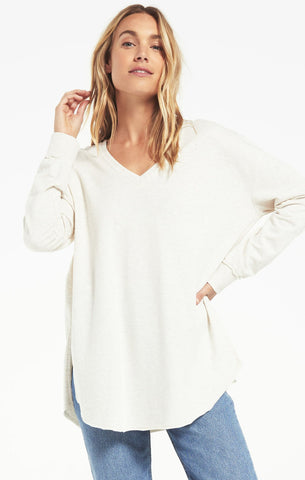 V-Neck Weekender Pullover, Light Oatmeal