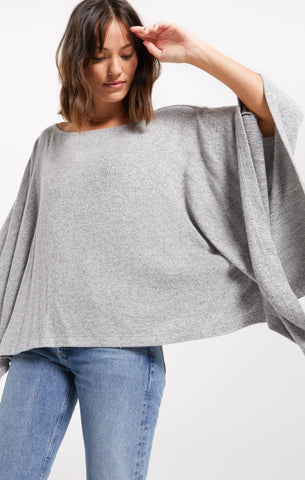 Ruby Marled Poncho, Heather Grey