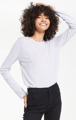 Everyday Brushed Slub Top, Heather Grey