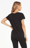 Jane Brushed Slub Tee, Black