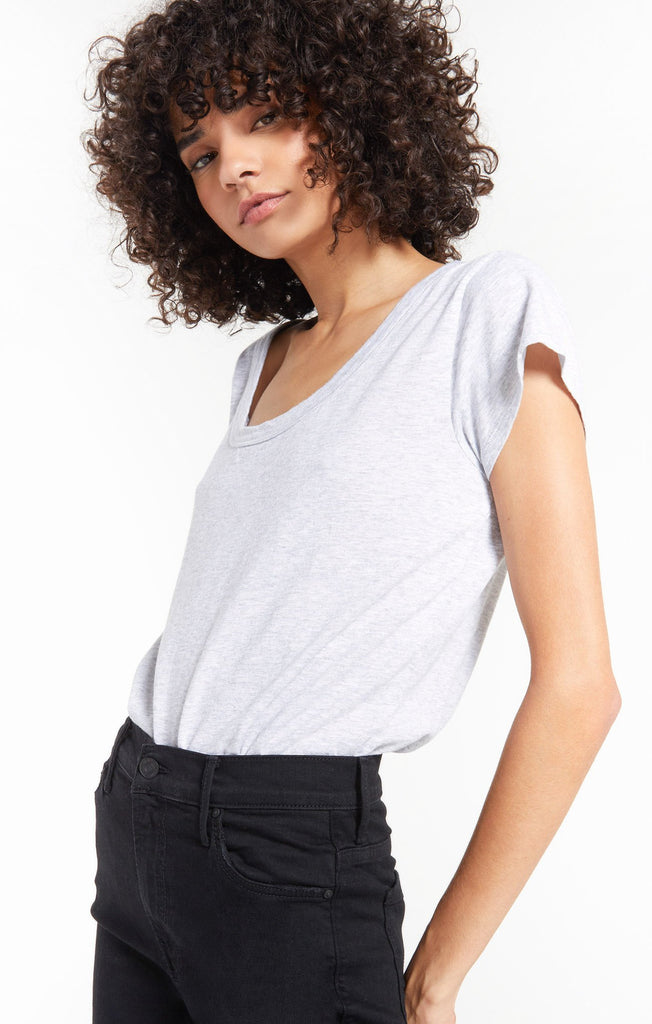 Jane Brushed Slub Tee, Heather Grey