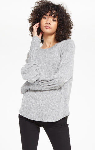 Vada Marled Top, Heather Grey