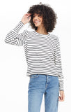 Clemente Striped Puff Sleeve Top, Vanilla Ice