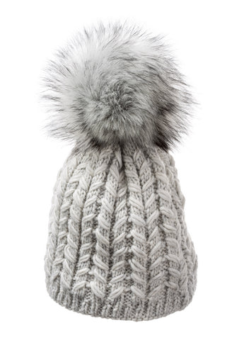Zena Beanie with faux fur pom pom in platinum