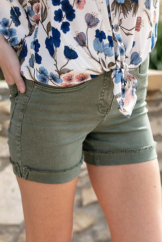 Zip Up Midi Shorts In Olive by Grace & Lace