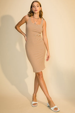 Julia Striped Rib Tank Dress, Caramel
