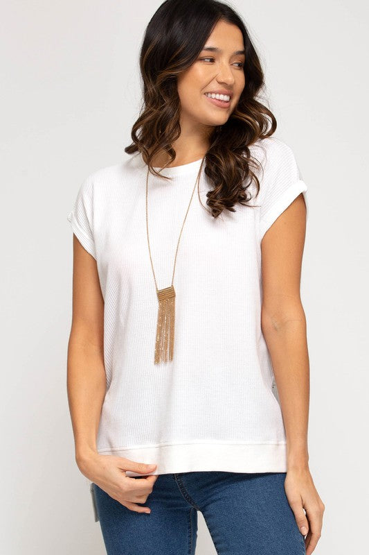 Dina Hi-Low Thermal Knit Top, Off White