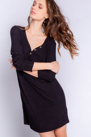 Textured Lounge Nightshirt, Black