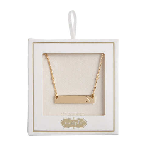 Initial Bar Necklace, N