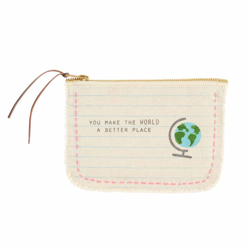 Globe Frayed Teacher Pouch
