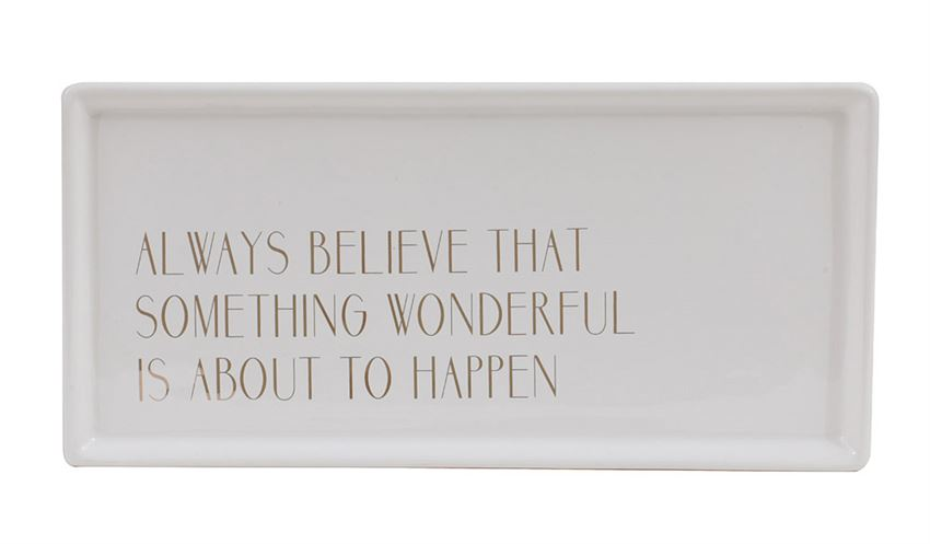 Always Believe Stoneware Tray