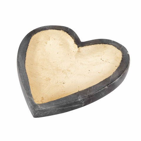 Gray Marble Foil Heart Tray