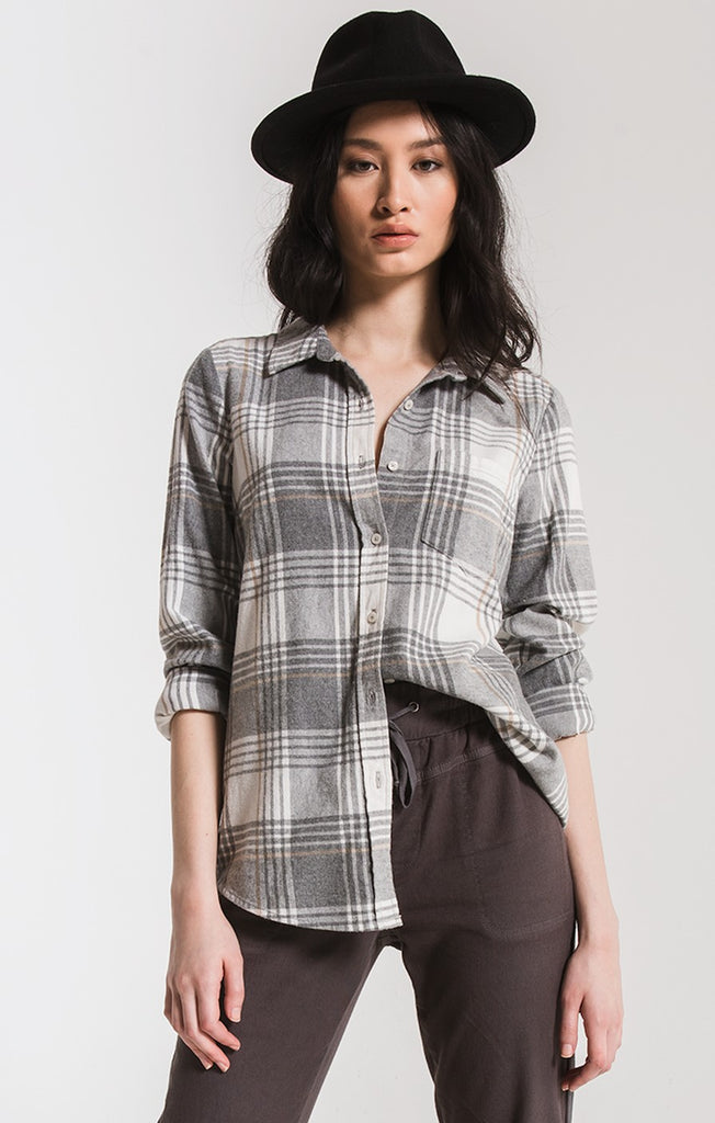 KANE-GRACE BUTTON-UP SHIRT BY RAG POETS In Winter White