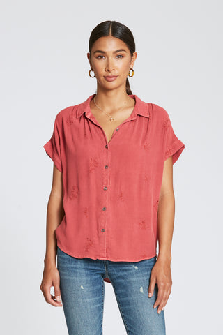 Flora Button Up Top in Camelia Rose