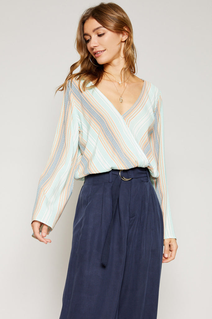 Horizon Striped Wrap Blouse