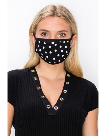 Adult: Reusable Face Mask, Black Polka Dot