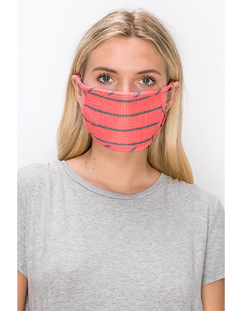 Adult Reusable Face Mask, Coral Bright Stripe
